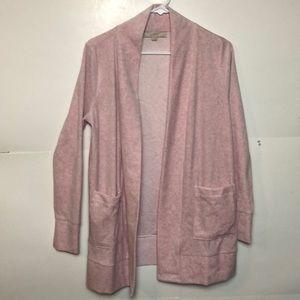 Loft Open Cardigan Fleece Sz M multi pink pockets